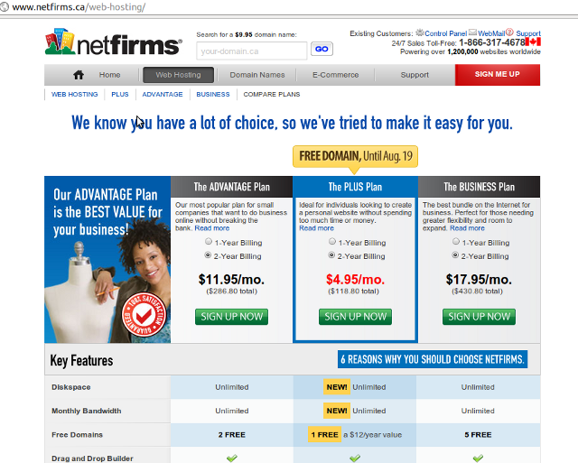 Shows the various features of the three tiers of plans from Netfirms